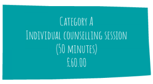 MHL Counselling price list, individual counselling and therapy, £60