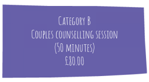MHL Counselling price list, couples and family counselling and therapy, £80